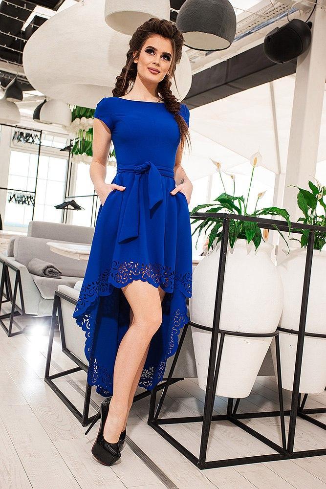 5365fec4c2cf7fa Очень красивое нарядное платье с перфорацией спереди короче сзади длинее,  фото 1