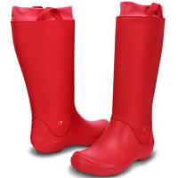 Сапоги резиновые женские высокие мягкие с манжетом Crocs Women's RainFloe Tall Boot / дождевики 37, Красный