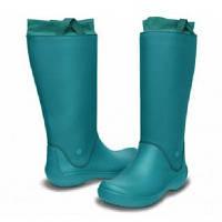 Сапоги Crocs Women's RainFloe Boot / женские резиновые высокие мягкие дождевики с манжетом 36, Зеленый