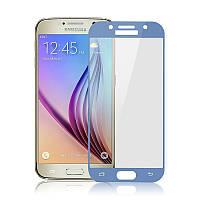 Защитное 3D стекло Samsung A320 / A3 2017 Full cover светло-синий 2.5D 0.26mm 9H
