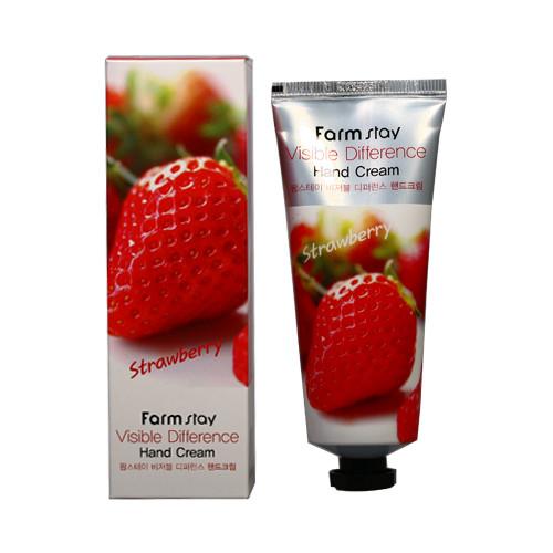 Корейский клубничный крем для рук  Farm Stay Visible Difference Hand Cream Strawberry