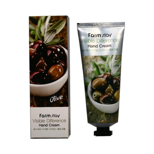 Корейский оливковый крем для рук FarmStay Visible Difference Hand Cream Olive