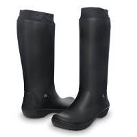 Сапоги Crocs Women's RainFloe Boot / женские резиновые высокие мягкие дождевики с манжетом 40, Черный