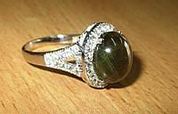 """Крупный шикарный перстень """"Лесной"""" с желто-зеленым звездчатым сапфиром , размер 17.3  студия LadyStyle.Biz"""