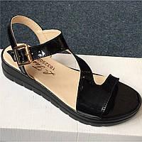 Черные женские лаковые босоножки от украинского бренда. Опт и розница. Размер 36-40