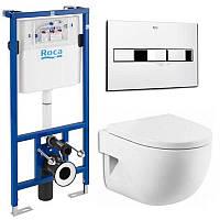 Комплект ROCA: PRO инсталяция для унитаза, PRO кнопка, MERIDIAN-N Compacto подвесной,сиденье твердое slow-closing A34248000+A89009000K+A89