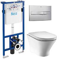 Комплект ROCA :PRO инсталяция для унитаза, PRO кнопка,NEXO подвесной Clean Rim, сиденье твердое slow-closing A34H64L000+A89009000K+A89