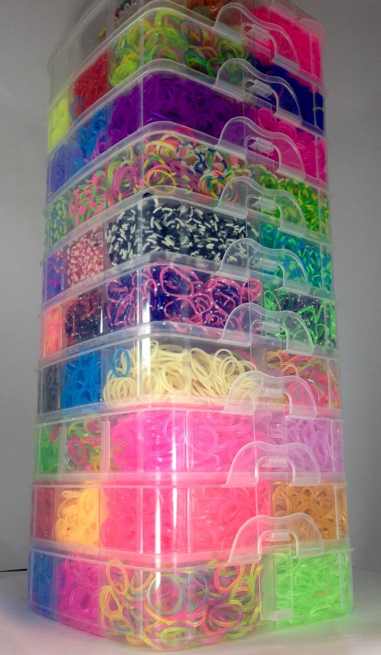 Десяти ярусный набор резинок 27000 Куб 10 этажный набор резинок для плетения