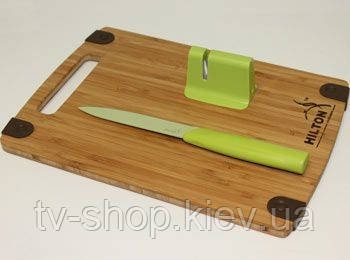 Набор – нож, точилка, бамбуковая доска Hilton