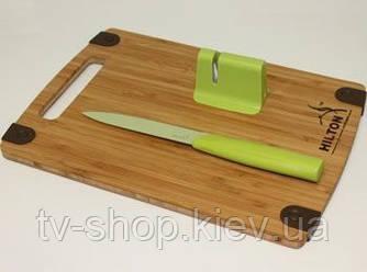 Набір – ніж, точилка, бамбукова дошка Hilton