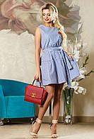Деловое Короткое Платье на Лето с Карманами Синее в Полоску S-XL