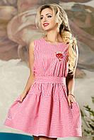 Деловое Короткое Платье на Лето с Карманами Красное в Полоску S-XL