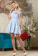 Деловое Короткое Платье на Лето с Карманами Голубое в Полоску S-XL