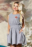 Деловое Короткое Платье на Лето с Карманами Черное в Полоску S-XL