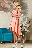 Коттоновое Шикарное Платье со Шлейфом Персиковое S-XL