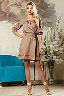 Нарядное Короткое Платье на Лето с Вышивкой Кофейное M-2XL