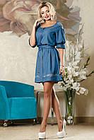 Нарядное Короткое Платье на Лето с Вышивкой Синее M-2XL