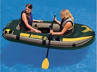 Двухместная надувная лодка Intex 68347 Seahawk-2 Set + пластиковые весла и насос