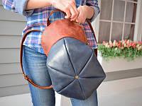 Ексклюзивный  кожаный рюкзак-кепка на 7 л. Babak 884562/65 коричневый/синий