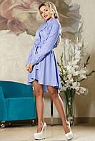 Оригинальное Деловое Платье в Полоску Голубое M-2XL