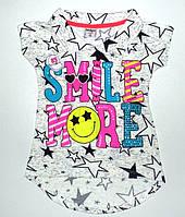 """Стильная """"SMILE MORE"""" туника для девочек 8,9,10,11,12 лет"""