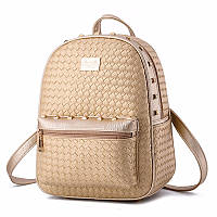 Рюкзак женский плетеный с заклепками (золотой), фото 1