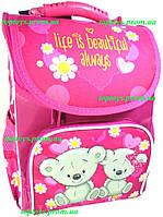 Рюкзак каркасный ортопедический школьный для девочки, Розовый с Мишками