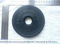 Блин гантельный металлический, обрезиненный под гриф ф 25 Р=0,5кг, толщина -14мм, Ф120х25         9506919000