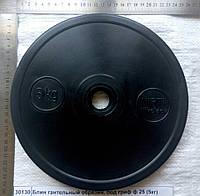 Блин гантельный металлический, обрезиненный под гриф ф 25 Р=5кг, толщина -28мм, Ф245х25          9506919000