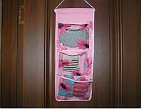 Органайзер подвесной 3 кармана 45х18,5 см розовый