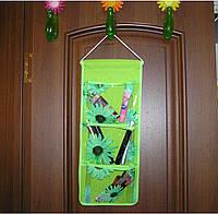 Органайзер подвесной 3 кармана 45х18,5 см салатовый