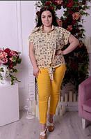Рубашка женская бежевая, батал с 48-74 размер, фото 1