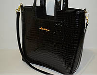 """Женская сумка """"Рептилия"""" лаковая черная, копия бренда"""