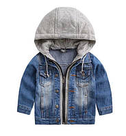 Детская джинсовая куртка на мальчика с трикотажным капюшоном