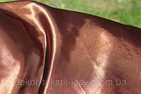 Ткань атласная (атлас), коричневый, тёмный шоколад.