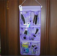 Органайзер подвесной 6 карманов 59 х25 см фиолетовый