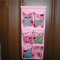 Органайзер подвесной 6 карманов 59 х25 см розовый