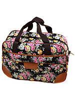 Дорожная сумка для ручной клади черная Цветы Dr.Bond