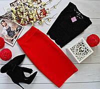 Женский костюм: топ без рукавов с набивного гипюра черный + юбка миди кукуруза красный