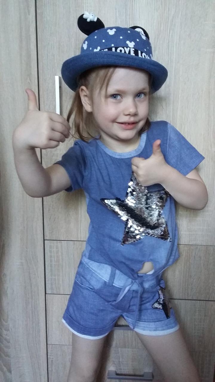 Джинсовая детская летняя шляпа с ушками для девочки и мальчика ОГ 48-50 см