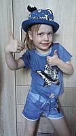 Джинсовая детская летняя шляпа с ушками для девочки и мальчика ОГ 48-50 см, фото 1