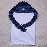 """Детская крестильная крыжма """"Велена"""" белая с синей отделкой, фото 1"""