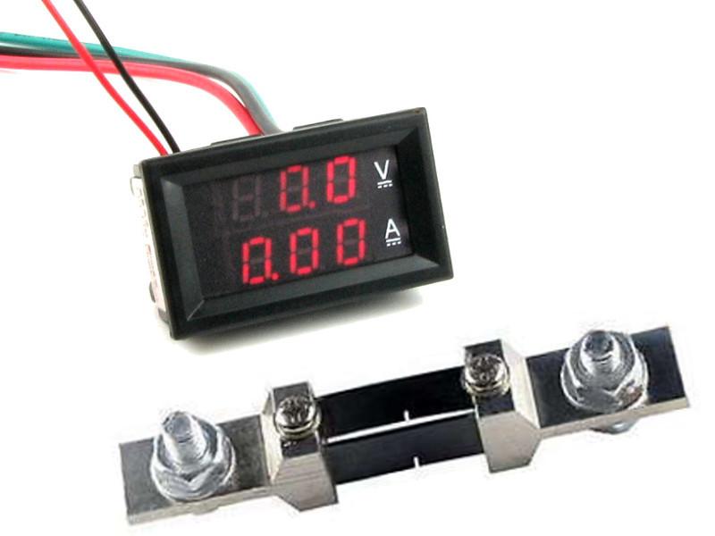2в1 Цифровой Вольтметр 300В + Амперметр 200А с шунтом