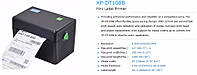 Термопринтер этикеток Xprinter XP-DT108B USB 108мм чековый принтер