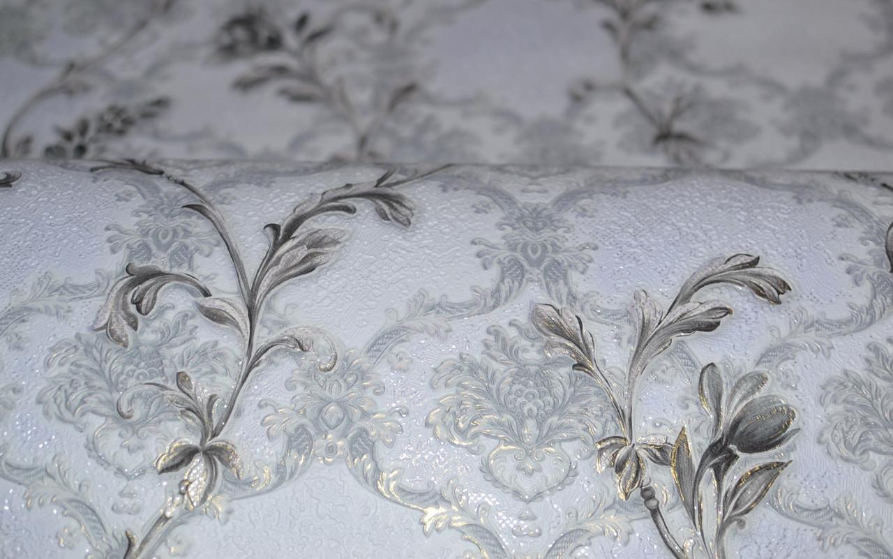 Обои на стену, серый, цветы, нежный, дуплекс, бумажная основа, B64,4 Артемида 8095-07, 0,53*10м