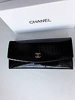 Женский кожаный кошелек черный, лаковый, фото 1