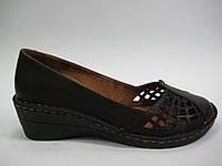 Кожаные женские летние туфли коричневого цвета