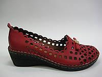 Кожаные женские летние туфли