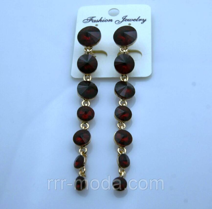633 Длинные женские серьги из бордово красных кристаллов на выпускной вечер или свадьбу.