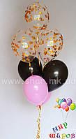 Фонтан с латексными шарами и шариками с конфетти